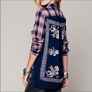 Free People Bandana Flannel Oversized Size M ❤️💙
